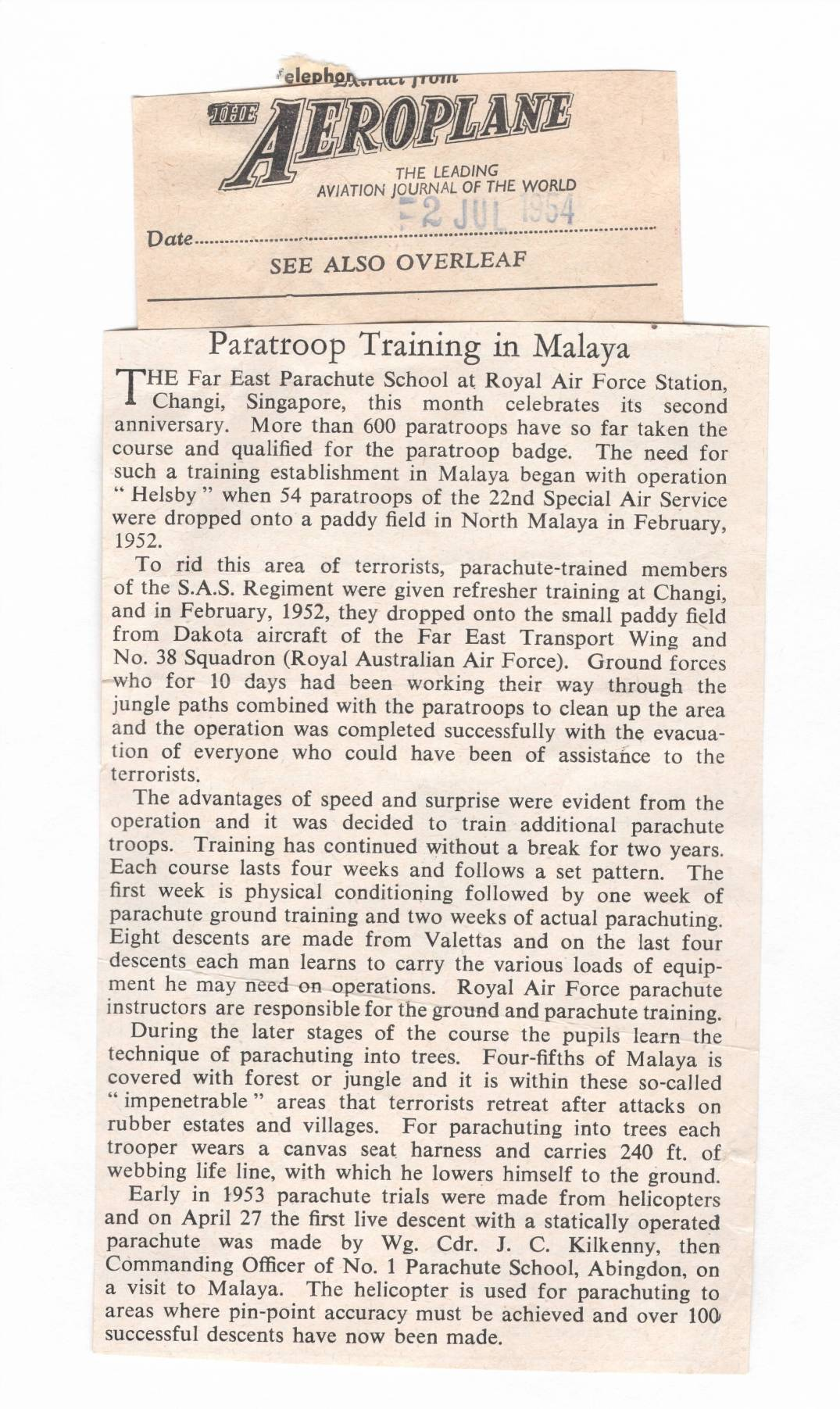PARATROOP TRAINING IN MALAYA THE AEROLANE 2 JULY 1964
